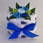 blue deluxe nappy cake